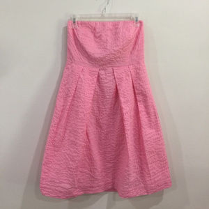 J Crew Factory Lorelei Dress in Deco Dot Pink